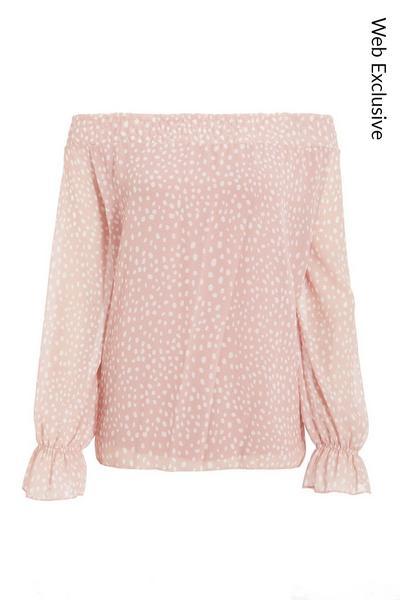 Pink Chiffon Polka Dot Bardot Top